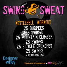 Take your training up a notch with kettlebell training! Kettlebell training is strength and cardiovascular exercise wrapped up into one awesome extremely effective style of training. Because it tr. Fun Workouts, At Home Workouts, Wods Crossfit, Sweat Workout, Workout Gear, Workout Exercises, Workout Outfits, Workout Plans, Workout Routines