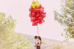 Engagement Session with Heart Balloons