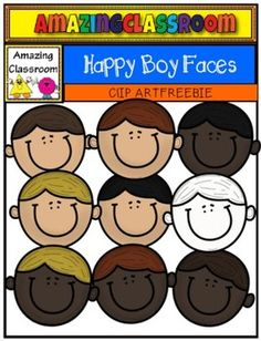 (FREE) Happy Boy Faces Clip Art