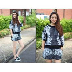 Black Baroque Pattern Top and Shorts Set