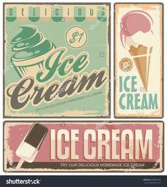 Ice Cream Vintage Metal Signs Set Stock Vector Illustration ...