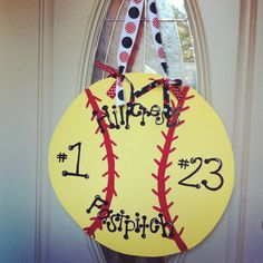 Softball Door Hanger from on Etsy. Basketball Game Tickets, Baseball Tournament, Basketball Uniforms, Basketball Court, Art Projects For Teens, Cool Art Projects, Softball Crafts, Softball Stuff, Baseball Live