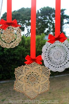 make cloth doilies stiff with 1/2 part white glue and 1/2 part water. old lady-ish? or retro/geometric? not sure