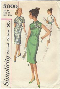 1950s Womens Cheongsam Dress & Cummerbund Asian by CloesCloset