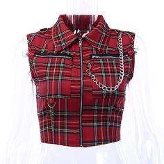Comprar Gothic Chic Club Punk Black Plaid Women Tops Vest Slim Lapel Zipper Chain Plaid Female Goth Retro Hip Hop Shirt em Wish - Comprar ficou mais divertido Punk Outfits, Gothic Outfits, Cool Outfits, Fashion Outfits, Womens Fashion, Plaid Vest, Crop Tops, Alternative Fashion, Skirt Fashion