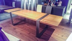 White oak table with extensions.