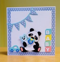 New Baby Boy Card - Marianne Collectables Panda Die & Baby Accessories Die.  To purchase my cards please visit CraftyCardStudio on Etsy.com.
