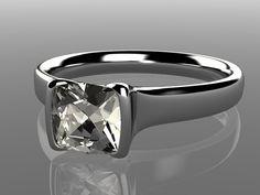 Cushion Moissanite Half Bezel Engagement Ring by NodeformWeddings