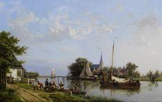 Hermanus Koekkoek - Schuiten op een kanaal in de zomer