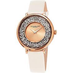 Stuhrling Original Women's Vogue Quartz Crystal Champagne Satin Covered Leather Strap Watch
