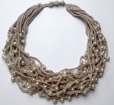 Multi strand collana maglia lino gioielli all