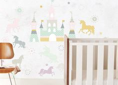 Wall decals are a great way to add a touch of whimsy to the kids room, like this princess and unicorn decals from @thelovelywallco! #PNpartner