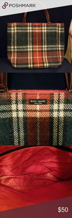 Kate Spade Wool Bag Plaid design.  Medium size with inside zipper pocket kate spade Bags
