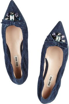 Heel measures approximately 20mm/ 1 inch Denim Elasticated trim, blush leather lining, crystal and bow-embellished pointed toe Slip on