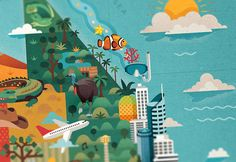 Beautiful map illustration...  DISCOVER AUSTRALIA - Jimmy Gleeson Design