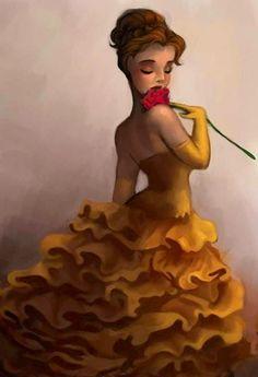 Beauty and the Beast's Belle cartoon illustration via www.Facebook.com/DisneylandForMisfits