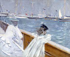 Madame Helleu et sa fille Ellen en mer   ~ Paul César Helleu ~ (French: 1859-1927)