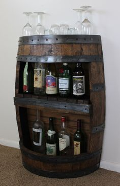 Whiskey Barrel Half Bar with Shelf, Reclaimed Whiskey Barrel Bar, Barrel Furniture, Whiskey Barrel, WIne Barrel, Home Bar, Liquor Cabinet by BarHomeDesigns on Etsy https://www.etsy.com/listing/213798543/whiskey-barrel-half-bar-with-shelf