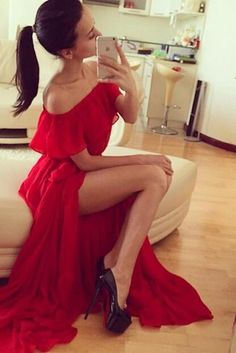 Red Strapless Long Chiffon Prom Dress With Slit for Party and Evening
