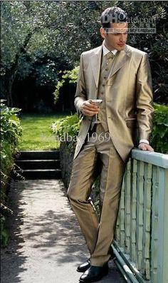 Custom Gold Satin Groom Tuxedos groomsman Suit wedding mens suits (Jacket+Pants+Vest+Tie) ok:254