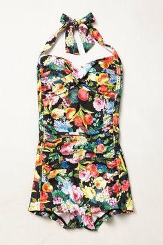 Retro modest one-piece swimsuit - Seafolly Summer Garden Boyleg Maillot -  anthropologie.com