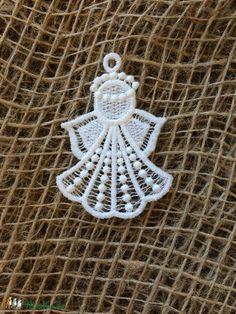 Csipkeangyal mini-2 (Cottonfresh) - Meska.hu Crochet Earrings, Diy, Do It Yourself, Bricolage, Handyman Projects, Diys, Crafting