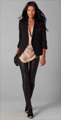 Rolled-Up-Sleeves-Blazer #womenswear #beige #black #fall #winter #style #leather #pants