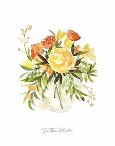 Orange Yellow Tulips Ranunculus Daffodils Watercolor Painting