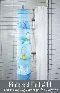 Use ikea organizer in bathroom to dry toys