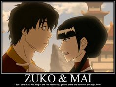 Animated gif discovered by Siobhàn. Find images and videos about zuko, may and the legend of aang on We Heart It - the app to get lost in what you love. Avatar Aang, Suki Avatar, Avatar The Last Airbender Art, Team Avatar, Mai And Zuko, Zuko And Katara, Iroh, Percabeth, Prince Zuko