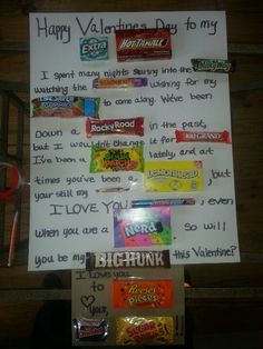 Valentines Day Candy Letter for my sister to make for her