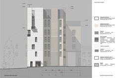 Схема фасада в осях 1 – 7. Гостиница с апартаментами и подземной автостоянкой в Электрическом переулке, 2014 © Мастерская архитектора Бавыкина