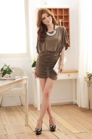 Half Bat Sleeves Tie Waist Pleated Hip Hugging Short Dress Black - BuyTrends.com
