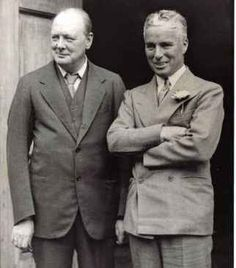 "with Winston Churchill. Fun fact: During the 1930s, Chaplin visited Churchill in England and Churchill was studying newspapers very intensely. On the newspapers were news about what was occurring in Germany at the time. To clear the air, Chaplin made a joke which Churchill replied ""No it's really quite serious."""