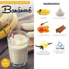 Milujeme smoothie, aneb 10 skvělých receptů, které musíš zkusit! | Blog | Online Fitness Snacks For Work, Healthy Work Snacks, Healthy Cooking, Smoothie Drinks, Fruit Smoothies, Vegan Recipes, Cooking Recipes, Frozen Banana, Planer