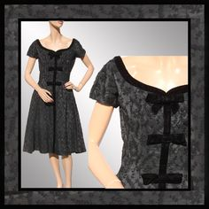 On Ruby Lane - Vintage 1950s Party Dress Black Wool Embroidery on Taffeta, $135