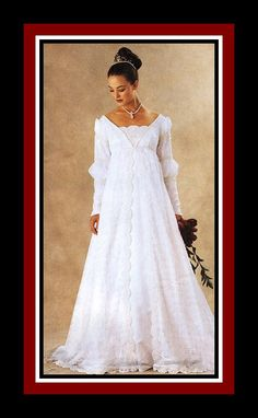 EXQUISITE Empire Waist Renaissance Gown-Designer Sewing Pattern-Three Styles-Long Train-Sleeve Variations-Lace Trim-Uncut-Size 20-24-Rare by FarfallaDesignStudio on Etsy