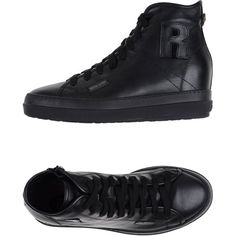 Ruco Line High-tops & Trainers ($210) ❤ liked on Polyvore featuring shoes, sneakers, black, flat sneakers, black flat shoes, black high-top sneakers, lace up sneakers and leather high tops