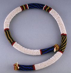 South Africa | Necklace from the Zulu people |  Glass beads and leather | Early 20th century