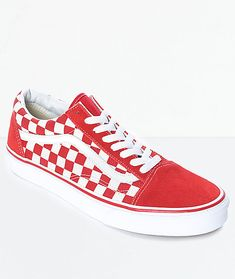 ae6d5550b1a024 Vans Old Skool Red   White Checkered Skate Shoes