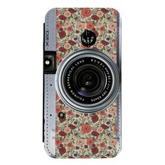 Floral Camera for iPhone 7 Wallet Case iPhone 7 Plus Wallet Case iPhone Wallet Case with FREE Tempered Glass Screen Protector