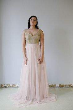 Candid Skirt and Nesha Top Front Flowy A-line layered soft tulle skirt in blush