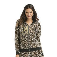 Kardashian Kollection Women's Hoodie Jacket - Leopard Print