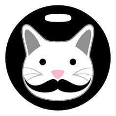 Luggage Tag  Mustache Kitty Cat  Round Large Plastic by ebonypaws