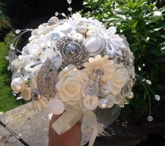 Ivory and silver bridal bouquet :)