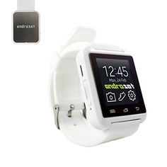 ANDROSET Universal Bluetooth Smartwatch for AndroidIOS Touch Screen Smart Phone MateWHITE -- Read more reviews of the product by visiting the link on the image.