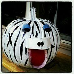#pumpkin decorating  #zebra pumpkin  #school project