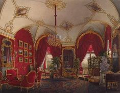 Interiors of the Winter Palace. The Fourth Reserved Apartment. The Corner Room - Edward Petrovich Hau - Drawings, Prints and Painting from Hermitage Museum