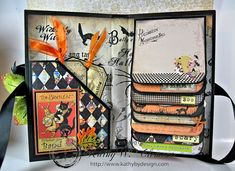 Halloween Flip Album Tutorial by Kathy Clement using Crafty Secrets Halloween CD #4 and some images from the Vintage Image Booklet. Sizes and step by step instructions with several photos explaining everything.