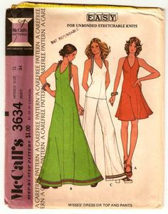 McCall's 3634 ©1973; Misses' Dress or Top and Pants - For Unbonded Stretchable Knits. Back zippered dress or top has halter neckline hooked in back. Dress B, top and pants C have braid trim. Pants have elastic in waistline casing.   Vintage Pattern Wiki